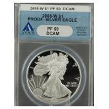 2008-W American Silver Eagle Proof ANACS PF69 DCAM