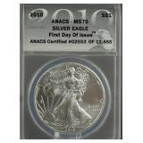 2010 American Silver Eagle ANACS MS 70