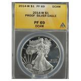 2014-W American Silver Eagle Proof ANACS PF69 DCAM