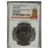 2013 British Silver Britannia NGC MS 69 DPL