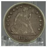1876 Seated liberty Quarter