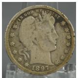 1897-O Barber Quarter Key Date