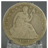 1871-S Seated Liberty Half Dollar