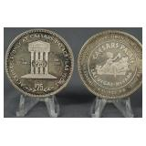 2 1985 1.5oz Silver Caesars Palace $25 Game Tokens