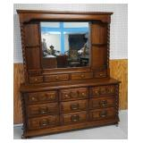 Oak Barley Twist Dresser and Mirror