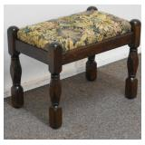 Vintage Oak and Floral Tapestry Foot Stool