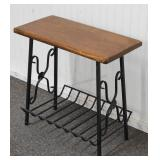 Wrought Iron and Wood Side Table