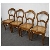 4 French Shield Back Cane Seat Dining Chairs