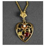 10k Gold Chain and Heart Pendant Necklace