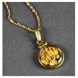 10k Gold and Vial of Raw Gold Flake Necklace