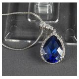 Sterling Silver and Blue Sapphire Pendant Necklace