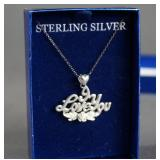 Sterling Silver I Love You Pendant Necklace