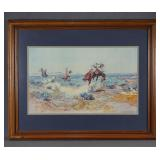 Charles Russell Print Cowboys Lassoing a Wolf