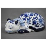 Blue on White Fine Porcelain Sleepy Cat Figurine