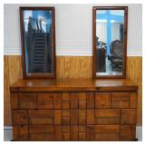 Plank Wood Block Board Dresser and Mirror
