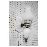 Vintage Milk Glass Diamond Quilt Wall Lamp