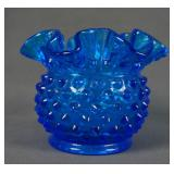 Fenton Colonial Blue Hobnail 3in Double Crimp Vase