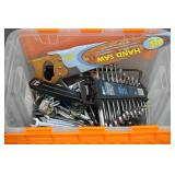 Tub of Household Tools Wrenches Pliers Screwdriver