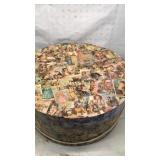 Large Round Cardboard Hatbox with Vintage