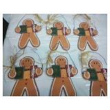 Set of 6 Wooden Hanging Gingerbread Men NWT