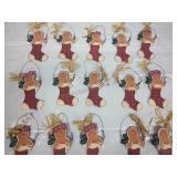 Set of 15 Wooden Hanging Gingerbread Men & Girls