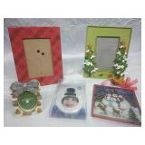 Assorted Picture Frames and Snowman Decor