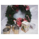 Xmas Wreath, Candleholders, and Holiday Ornament