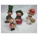 Vintage Paper Mache Carollers and Snowman