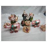 Assorted Glass Pig/Santa Ornaments