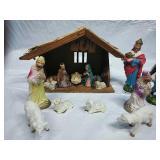 Vintage Nativity Scene with Shepherds & Animals