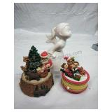 Pair of Xmas Music Boxes and Ceramic Angel