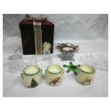Assorted Ornaments, Candleholders/Decor and Glass