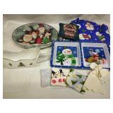 Ceramic Santa Platter,Lenox Gravy Sleigh, Snowman
