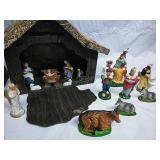 Vintage Cardboard Manger Nativity Scene and