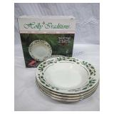 Holiday Traditions Set of 4 Soup Bowls w 22k Gold