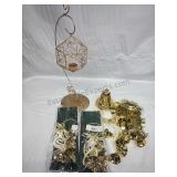 Gold Candleholder and Assorted Bell Decor