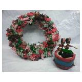 Vintage Handmade Cloth Wreath and Wooden Solider