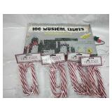 100 Musical Lights - Works and 4 Pkgs Candy Cane