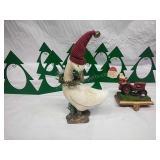 Xmas Goose Decor, Santa Stocking Holder and