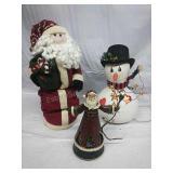 Santa Decor, Santa Music Box and Plug in Snowman