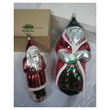 Pair of Large Vintage Santa Glass Ornaments