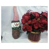 Artificial Poinsettia Plant in Drum container and