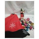 Tree Skirt, Vintage Santa and Assorted Ornaments
