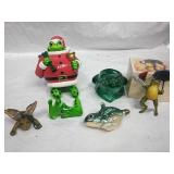 Assorted Frog Decor, Candleholder and Ornaments -