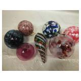 Set of 7 Blown Glass Ornaments