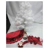 White Tinsel Tree, Mini Tree Skirt, Xmas Picks