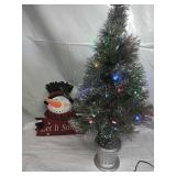 "Prelit Silver Tinsel Artificial Xmas Tree 32"" and"