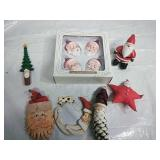 Set of 4 Glass Santa Ornaments and other Assorted
