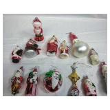 Assorted Glass Santa Ornaments