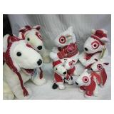 Collection of Holiday Bullseye Plush Stuffed Dogs